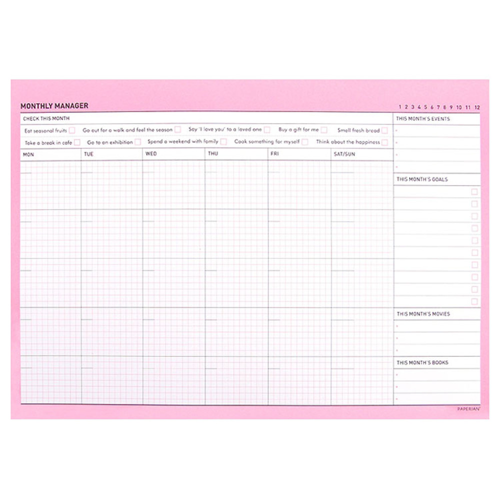 So lovely 'Monthly' scheduler pad in pink and mint