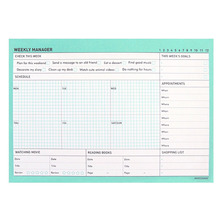 So lovely 'weekly' schedule pad in pink and mint